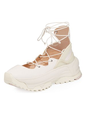 COACH Lace-Up Chunky Leather Ballerina Sneakers