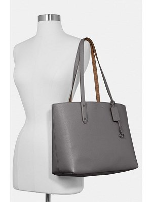 COACH central leather & signature coated canvas tote