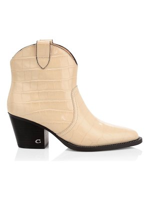 COACH paige chain western croc-embossed leather ankle boots