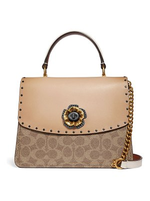 COACH Parker Tea Rose Canvas Top-Handle Bag with Rivets