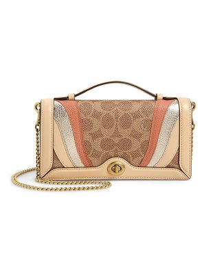COACH patchwork leather & signature canvas chain clutch