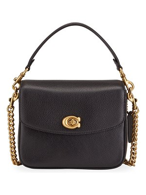 COACH Pebbled Leather Flap-Top Chain Crossbody Bag