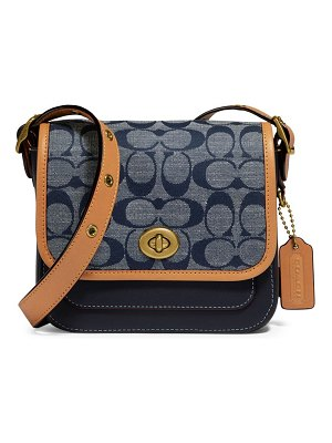 COACH rambler signature chambray & leather crossbody bag