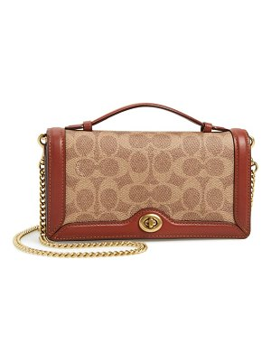 COACH riley signature canvas & leather chain clutch