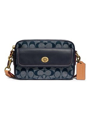COACH signature chambray canvas & leather belt bag