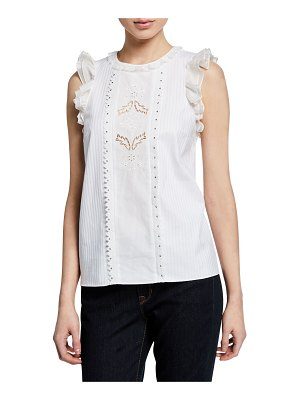 COACH Sleeveless Cotton Ruffle Top with Studs
