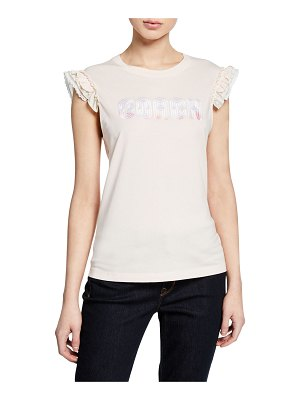 COACH Sleeveless Embroidered Logo Ruffle Tee