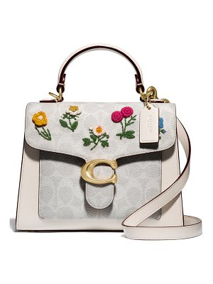 COACH tabby floral coated canvas & leather top handle bag