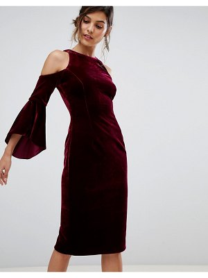 Coast celestine velvet cold shoulder dress