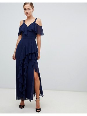 Coast illy ruffle cold shoulder maxi dress