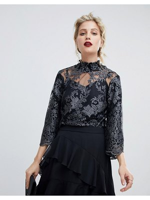 Coast lace high-neck blouse with scallop edge