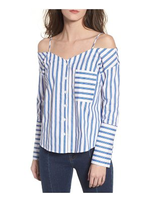 CODEXMODE stripe cold shoulder button top