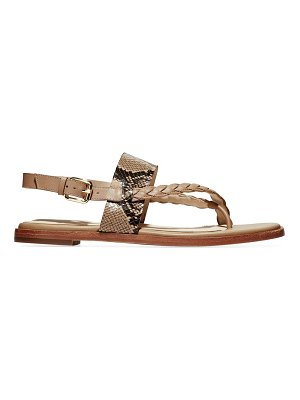 Cole Haan anica braided snakeskin-embossed leather slingback thong sandals