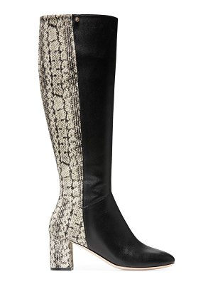 Cole Haan rianne knee-high python-embossed leather boots