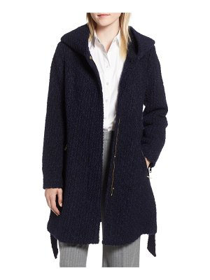 Cole Haan Signature belted boucle wool blend coat