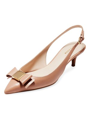 Cole Haan Tali Grand Bow Kitten-Heel Leather Pumps