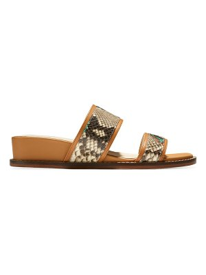Cole Haan wesley leather snake-print demi wedge sandals