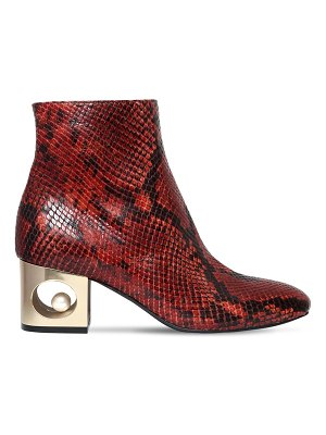 COLIAC 55mm tiffany snake printed leather boots