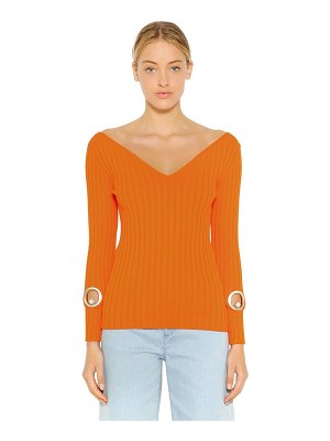 COLIAC Slim stretch rib knit sweater w/ cutouts