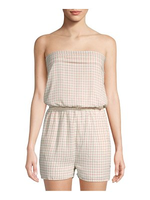 Collective Concepts Grid-Print Strapless Romper