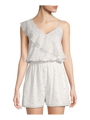 Collective Concepts One-Shoulder Metallic Star Print Romper