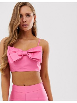 Collective The Label bow front cami top coord in pop pink