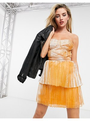 Collective The Label corset tiered mini dress in gold