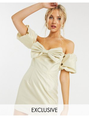 Collective The Label exclusive balloon sleeve mini dress with bow in champagne-cream