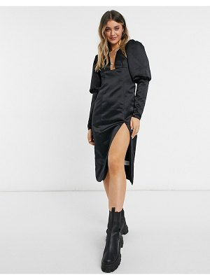 Collective The Label exclusive plunge thigh slit midi dress with oversized sleeves in black