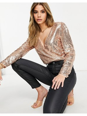 Collective The Label exclusive sequin bodysuit in rose gold-pink