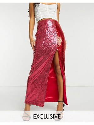 Collective The Label exclusive sequin split midaxi skirt in contrast pink and red-multi