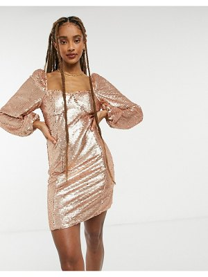 Collective The Label long sleeve sequin mini shift dress in sequin-gold