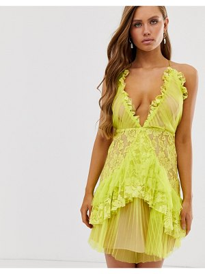 Collective The Label plunge front cami mini dress with ruffle in lime green
