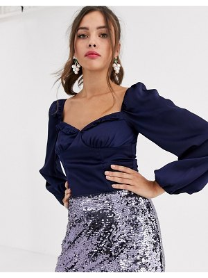 Collective The Label satin corset top-navy