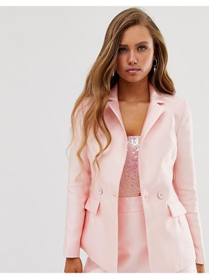 Collective The Label tailored blazer with pocket detail in pink sateen