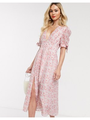 Collective The Label tea midi dress in pink ditsy organza