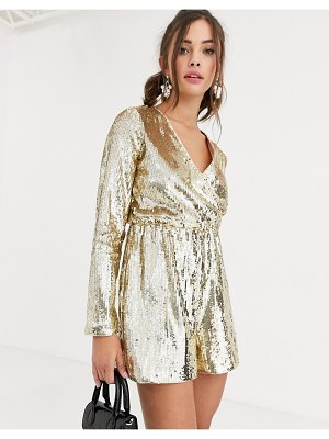 Collective The Label wrap sequin romper in gold