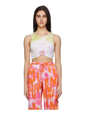 Collina Strada ssense exclusive green flower patch center ring tank top