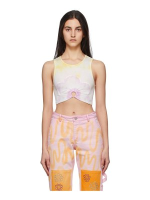 Collina Strada yellow flower patch center ring tank top