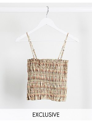 Collusion check shirred cami top two-piece in check-multi
