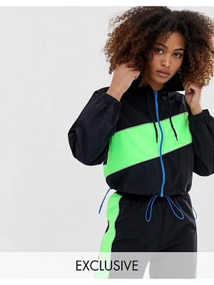 Collusion color block track jacket-multi