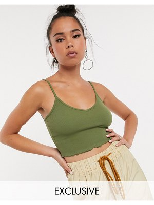 Collusion crop bralette with lettuce edge in khaki-green