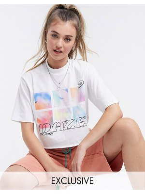 Collusion dazed print oversized crop t shirt in white