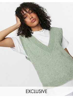 Collusion fluffy ribbed v neck tank in green-blues
