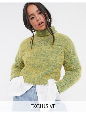 Collusion fluffy roll neck sweater in yellow