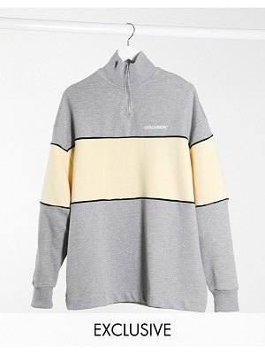 Collusion funnel neck sweat dress in gray marl