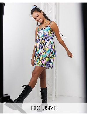 Collusion meantime butterfly print mini smock dress-multi