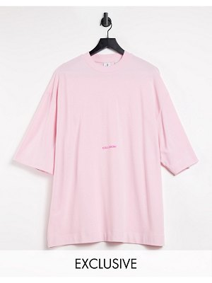 Collusion oversized pique t-shirt in pale pink with contrast logo
