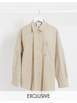 Collusion oversized shirt in stone-beige
