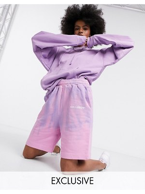 Collusion oversized shorts in tie dye-multi